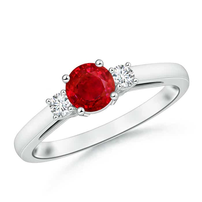 Angara Round Ruby Past Present Future Engagement Ring gtqBY2kf