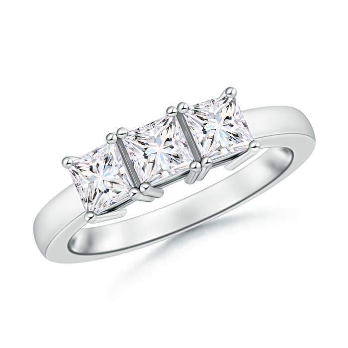 Angara Three Stone Moissanite Engagement Ring in White Gold 2netFNOnIR