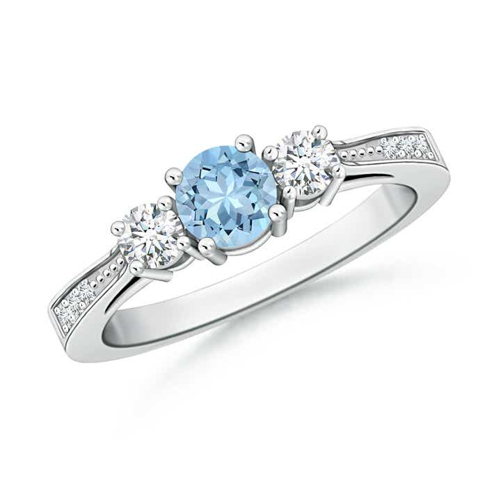 Angara Cathedral Three Stone Round Aquamarine Engagement Ring