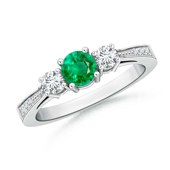 Angara Classic Three Stone Emerald and Diamond Cathedral Ring in Platinum