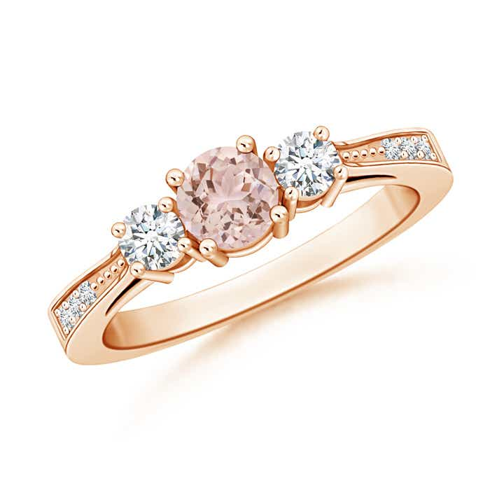 Angara Three Stone Morganite Diamond Engagement Ring in Platinum efJ2xeC