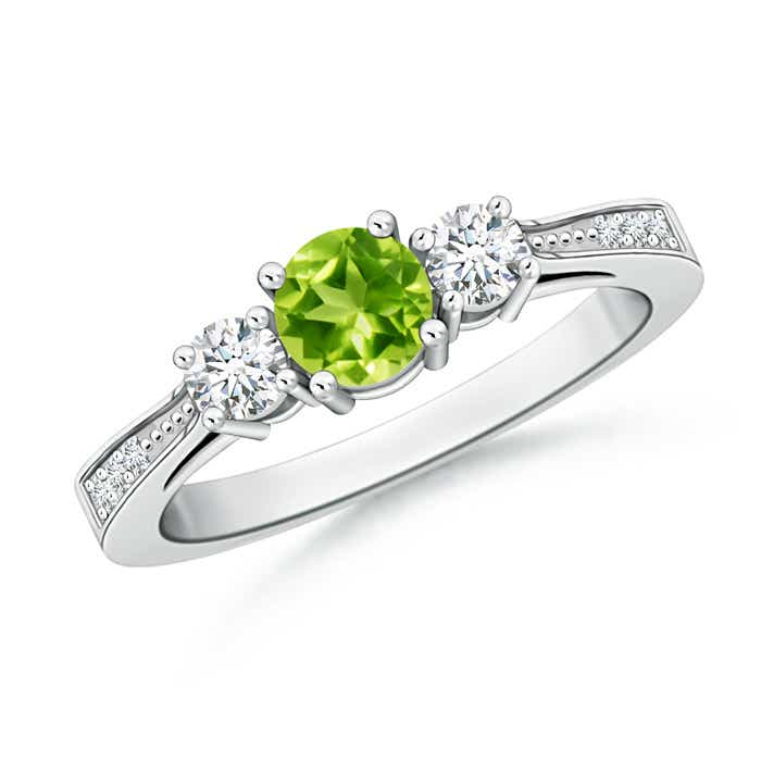 Angara Cathedral Three Stone Round Peridot Engagement Ring VZSo8M