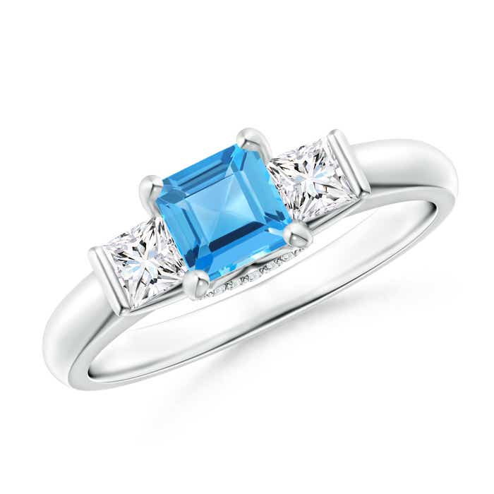 Angara Swiss Blue Topaz Engagement Ring With Diamond in Platinum DAHYV