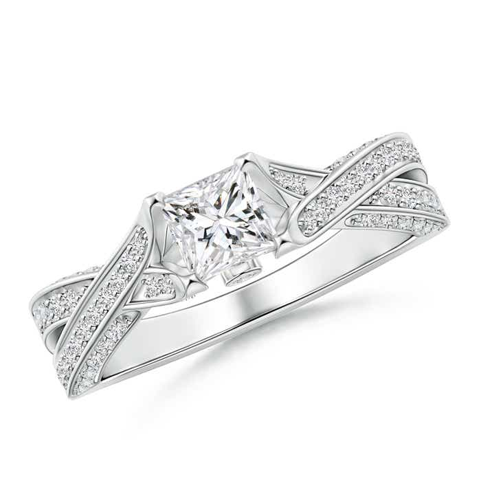 Angara Princess Cut Diamond Crossover Ring in White Gold kJinvj1aBf