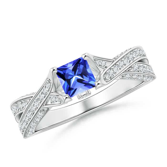 Angara Diamond Halo Blue Sapphire Crossover Engagement Ring in Platinum Sd36Owa