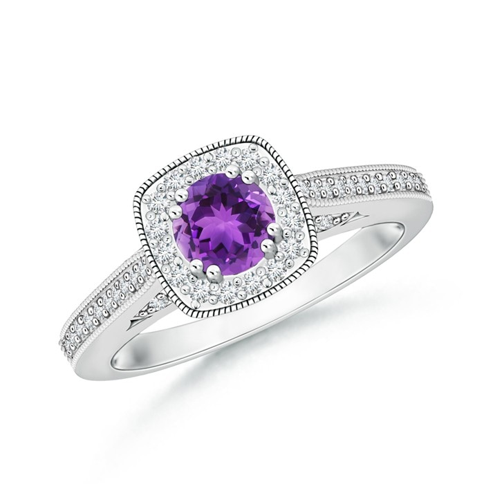 Angara Vintage Amethyst Diamond Halo Engagement Ring in Platinum tY1FiT