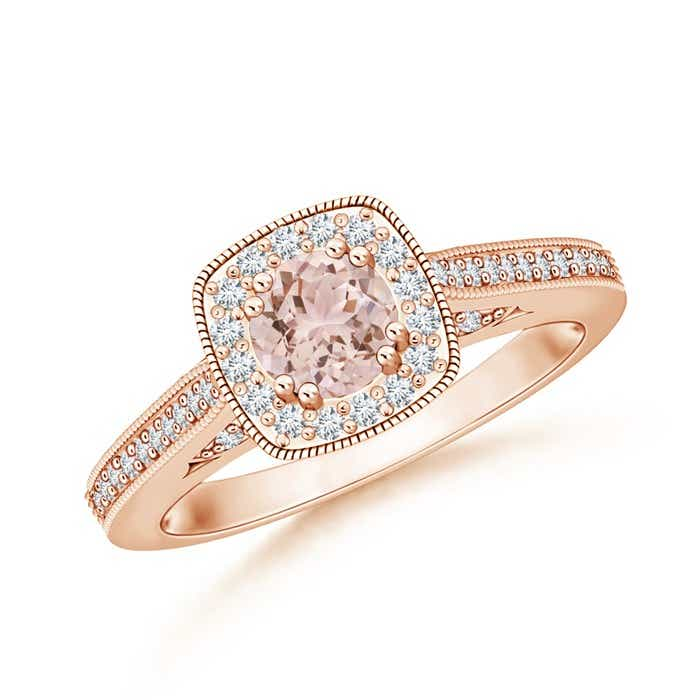 Angara Morganite Cathedral Engagement Ring with Pave Set Diamonds OLEHF