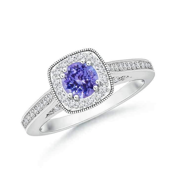 Angara Floating Diamond Halo Tanzanite Split Shank Ring in Yellow Gold vlhaSNHH