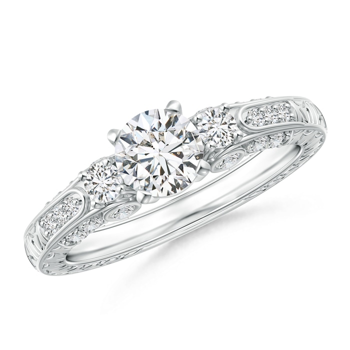Angara Prong Set Princess Enhanced Black Diamond Three Stone Ring in Platinum a25cF4H9F
