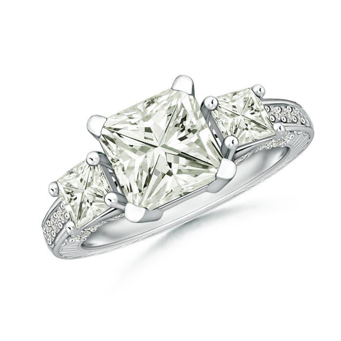 Angara Moissanite Three Stone Ring in Platinum PgK86PE0nJ