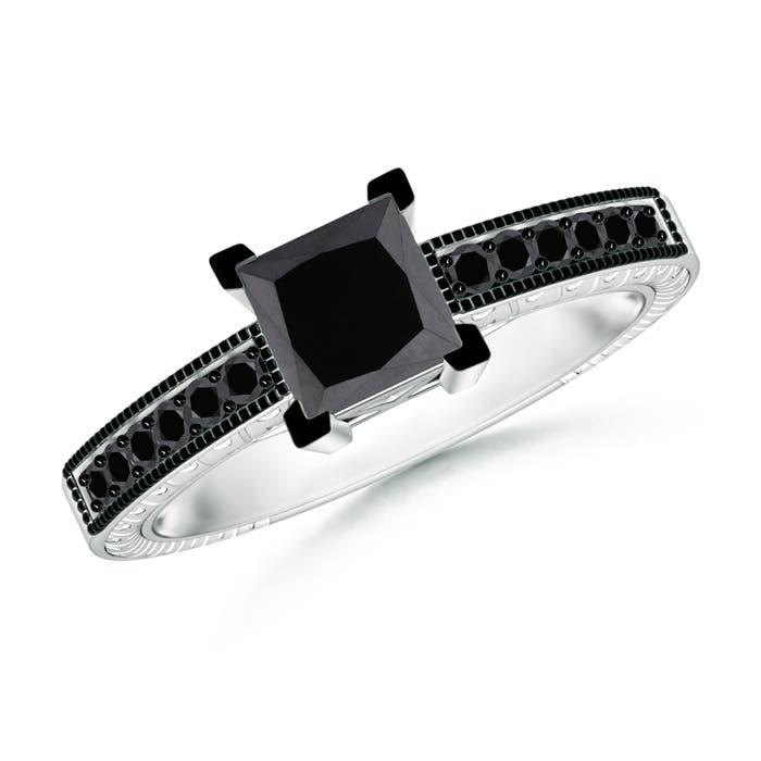 Angara Enhanced Black Diamond Ring With Diamond Shoulders in White Gold b4HYSs0