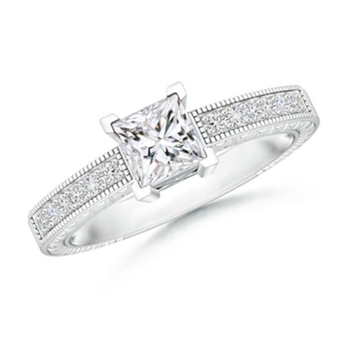 Angara Diamond Princess Cut Engagement Ring in Platinum vQRj3oV