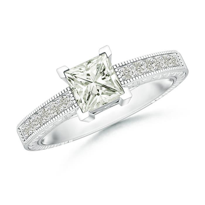 Angara Round Moissanite Solitaire Ring in Platinum LxJWVQVxZ