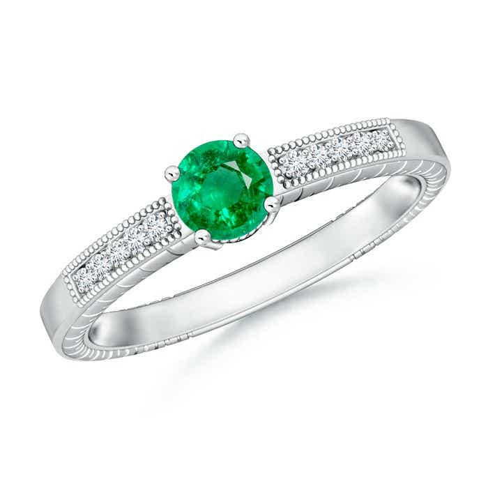 Angara Round Emerald Solitaire Ring with Milgrain Detailing