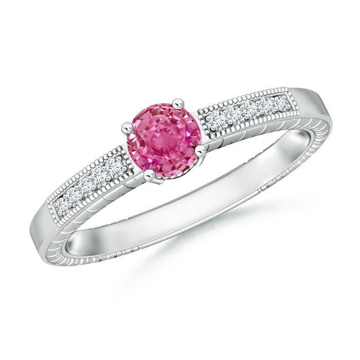 Angara Round Pink Sapphire Solitaire Ring with Milgrain Detailing NtJCkZL2