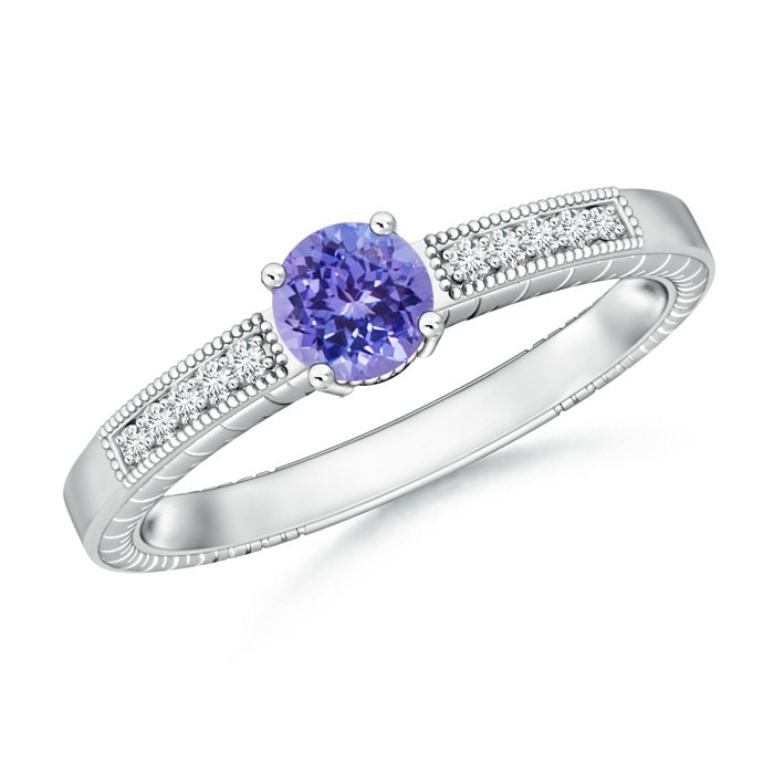 Angara Semi Bezel Dome Tanzanite Ring with Diamond Accents in Platinum fu3UPrdkH7