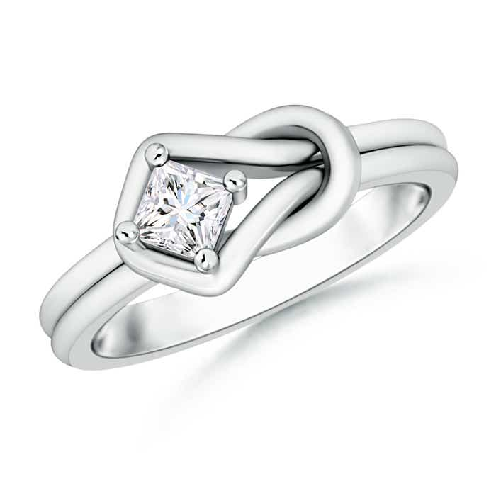 Angara Solitaire Moissanite Infinity Knot Ring in Platinum L7UNN