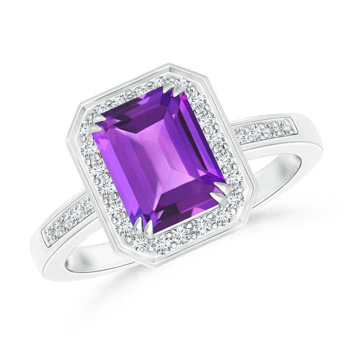 Angara Emerald-Cut Amethyst Solitaire Ring with Diamond in Platinum hsCvaMAnW