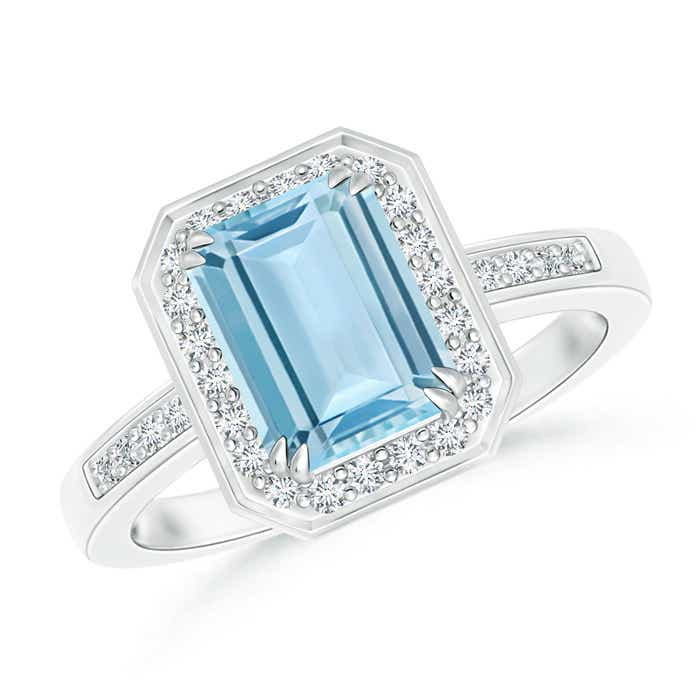 Angara Emerald-Cut Aquamarine Halo Engagement Ring Platinum 93cOkH