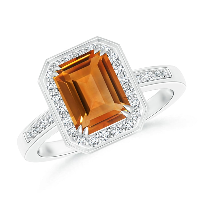 Angara Twist Shank Emerald-Cut Citrine Ring in Yellow Gold MvOSwk