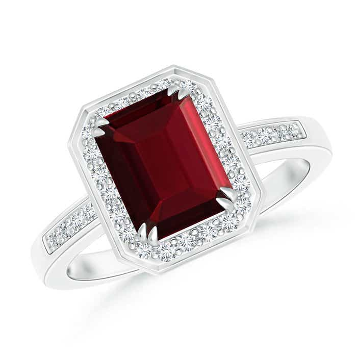 Angara Emerald-Cut Garnet Solitaire Ring with Diamond in Yellow Gold
