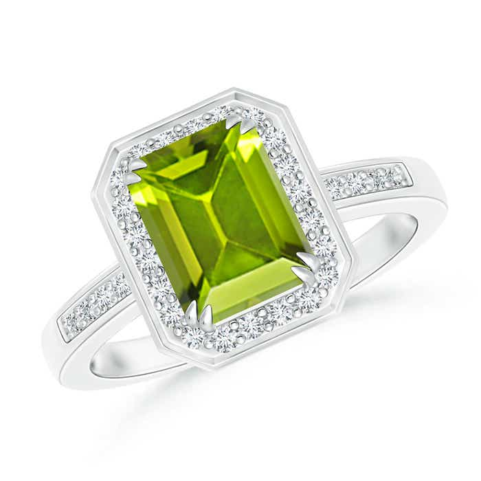 Angara Twist Shank Emerald-Cut Peridot Ring in Rose Gold