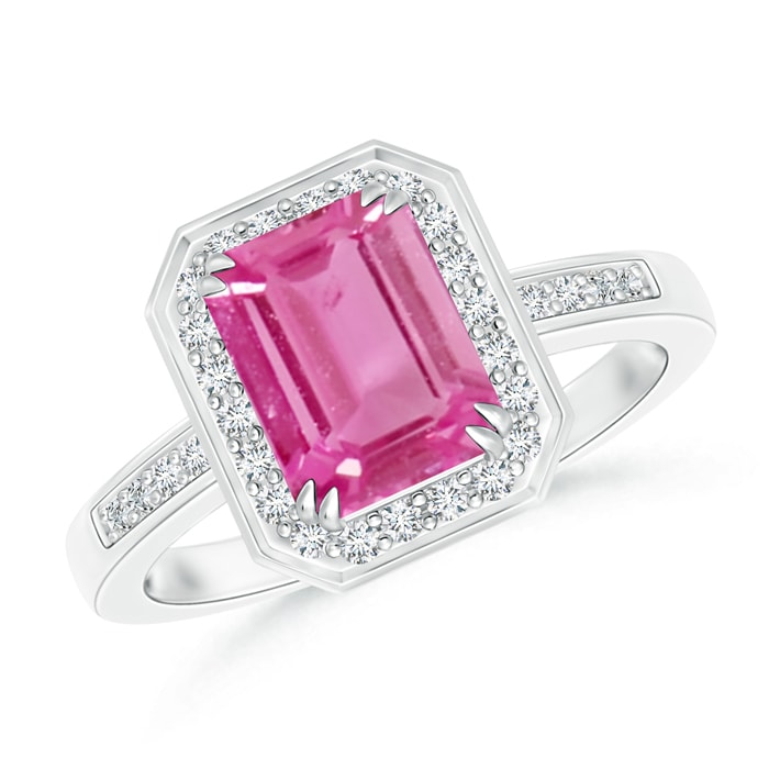 Angara Emerald-Cut Pink Sapphire Engagement Ring in Yellow Gold v811v6uON