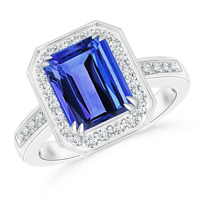 Angara Emerald Cut Tanzanite Diamond Halo Engagement Ring in Yellow Gold