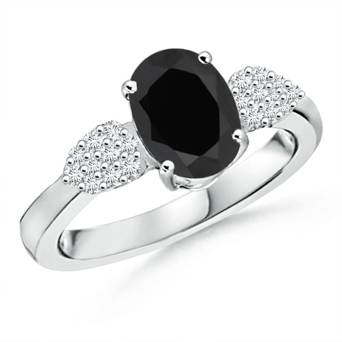 Angara Solitaire Black Onyx Ring with Diamond Accent in Yellow Gold bYvLvGGBPg