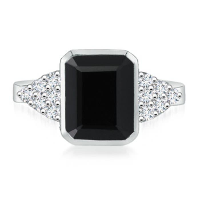 Angara White Gold Emerald-Cut Black Onyx Ring KA458hfN