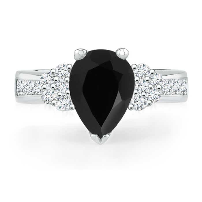 Angara Black Onyx Engagement Ring in Yellow Gold aPp5tm6Ix