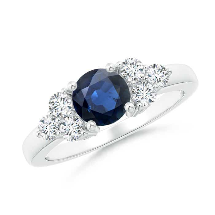Angara Trio Stone Blue Sapphire Engagement Ring With Diamonds in White Gold