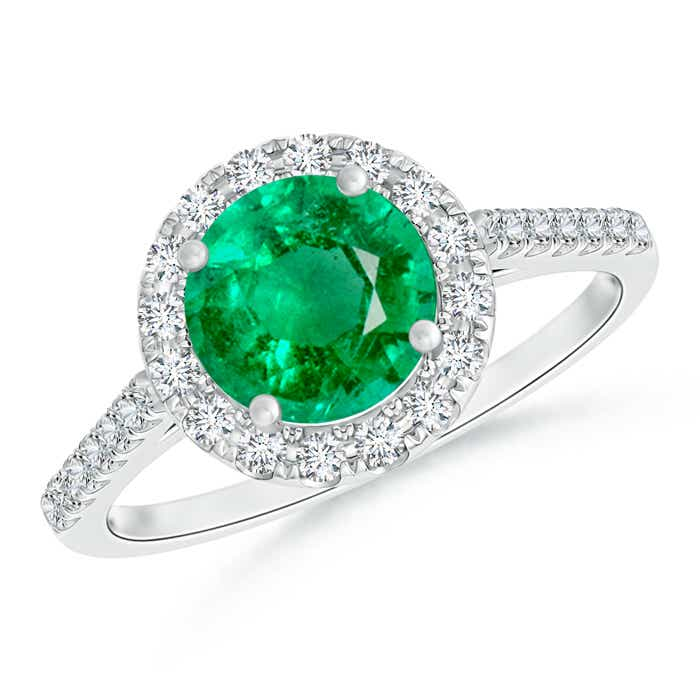 Angara Double Prong Emerald and Diamond Halo Ring in White Gold VEW8rsXq