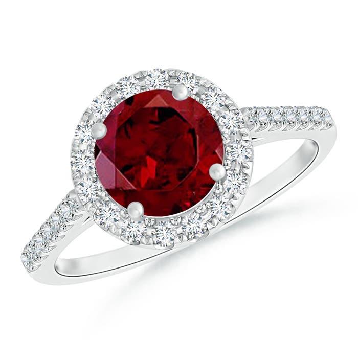 Angara Round Diamond Halo Ring with Diamond Accents KnHnqbiw1r
