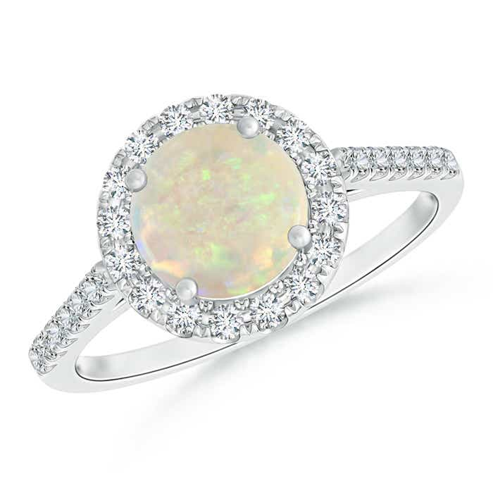 Angara Round Opal Halo Ring with Diamond Accent WPMLM