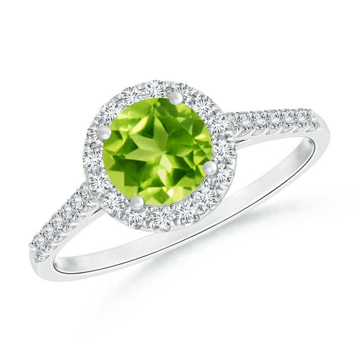 Angara Round Peridot Halo Ring with Diamond Accent oGI94fI3