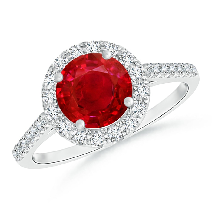 Angara Diamond Halo Ruby Engagement Ring in 14k Yellow Gold GDc0IHPaK