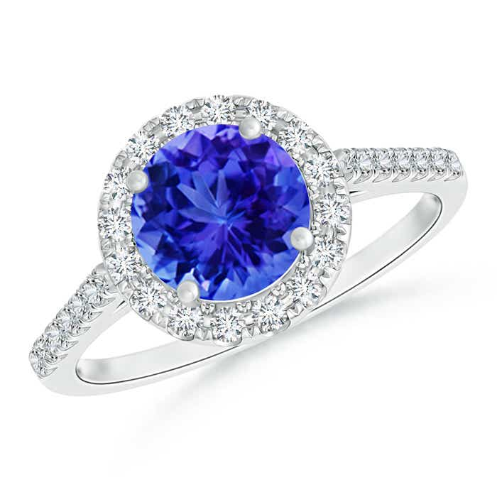 Angara Tanzanite and Diamond Halo Engagement Ring in Yellow Gold pwA9brQlh0