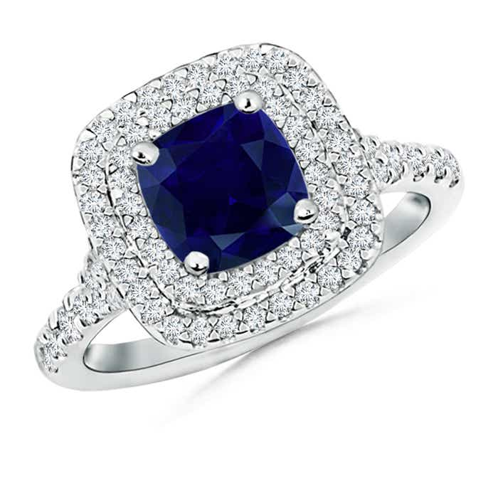 Angara Cushion Emerald and Diamond Double Halo Ring in 14k Yellow Gold mAAH8