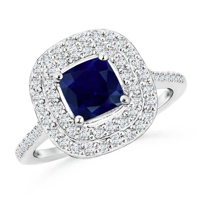 Angara Cushion Sapphire and Diamond Ring in Platinum pPG9G