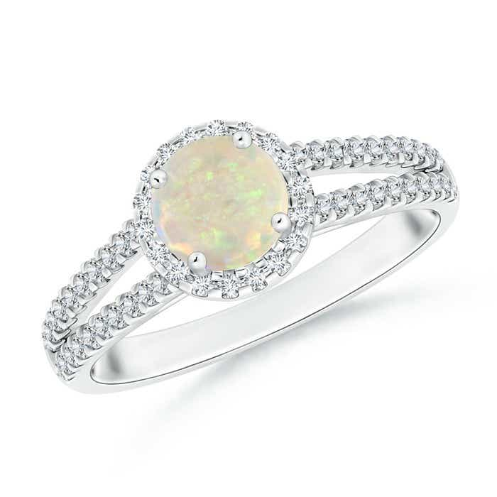 Angara Twin Shank Opal Halo Ring with Diamond Accents PSigkqdshf