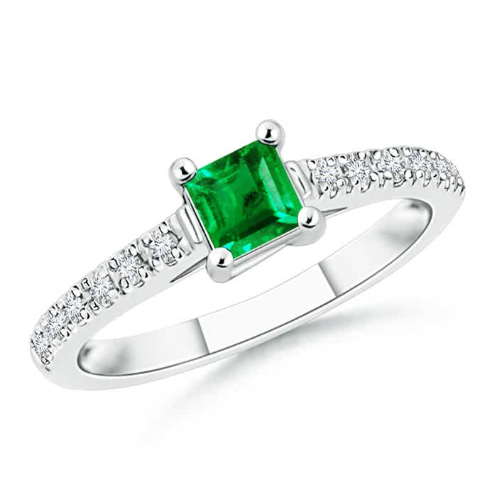 Angara Solitaire Emerald Heart Ring with Diamond Accents in 14K White Gold gxCdQH