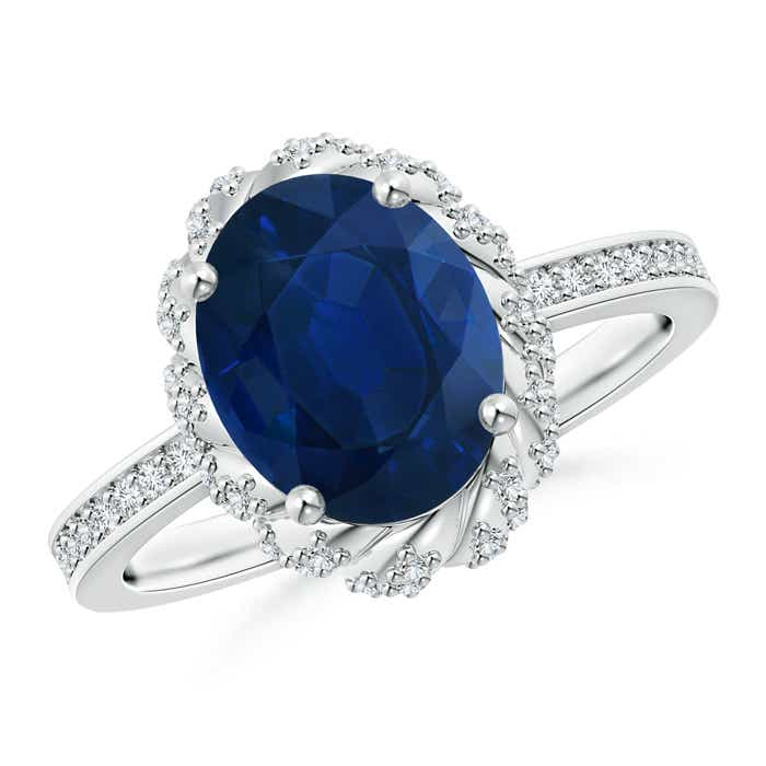 Angara Three Stone Sapphire and Diamond Halo Ring in Two Tone QVhQY5jh2
