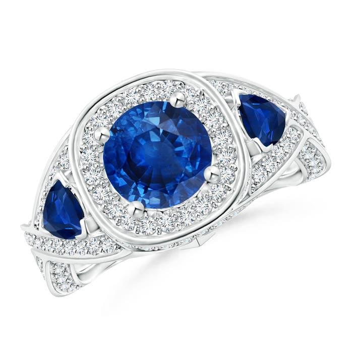 Angara Diamond Halo Blue Sapphire Ring in Rose Gold vHBEj9jO