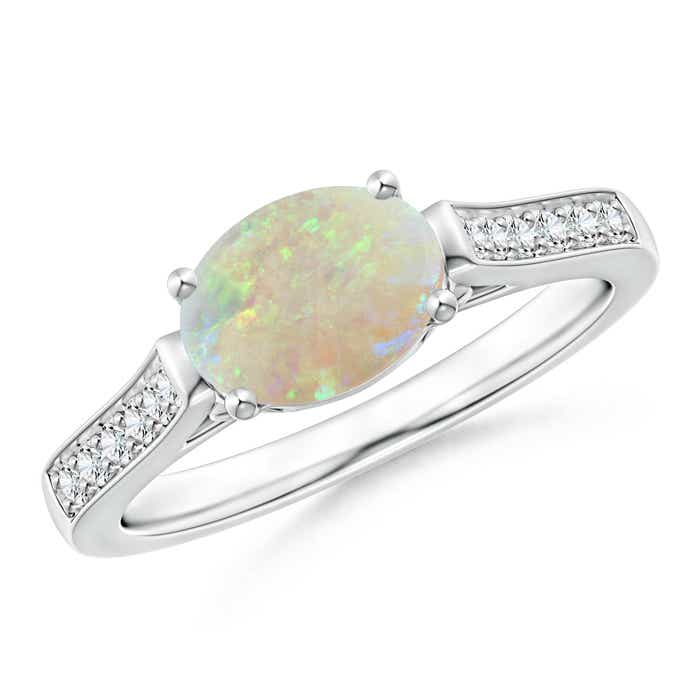 Angara East West Set Oval Opal Solitaire Ring with Diamond Accents CeOBs