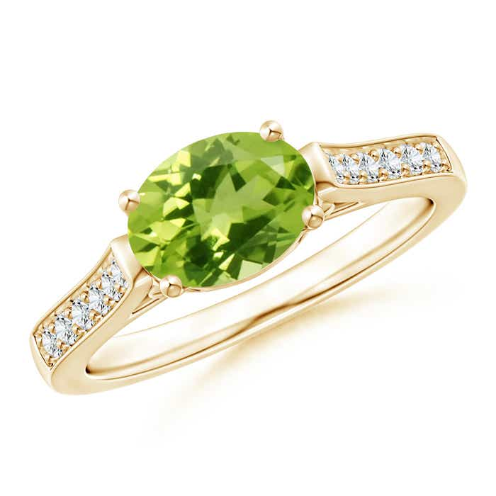 Angara East West Set Oval Emerald Solitaire Ring in 14k Yellow Gold iFptgGt0y