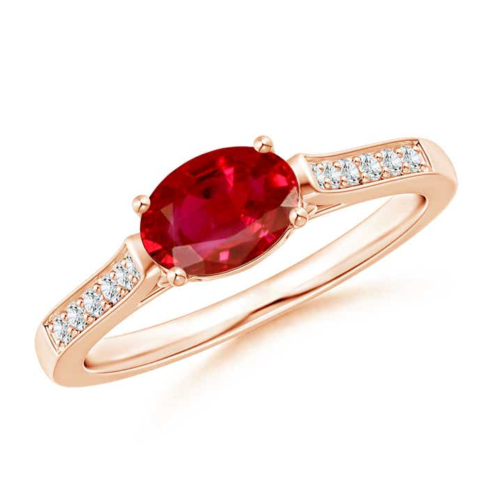 Angara Diamond Studded Twin Shank Pear Ruby Wedding Ring for Her in Platinum tkUKaam9EP