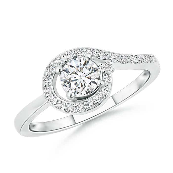 Angara Solitaire Round Floating Diamond Halo Ring