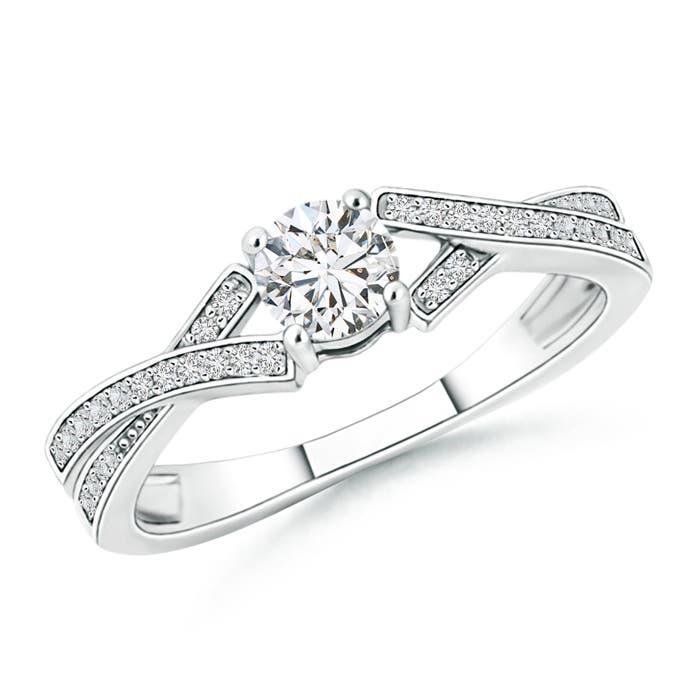 Angara Ribbon Shank Solitaire Princess Moissanite Ring cQwzMP