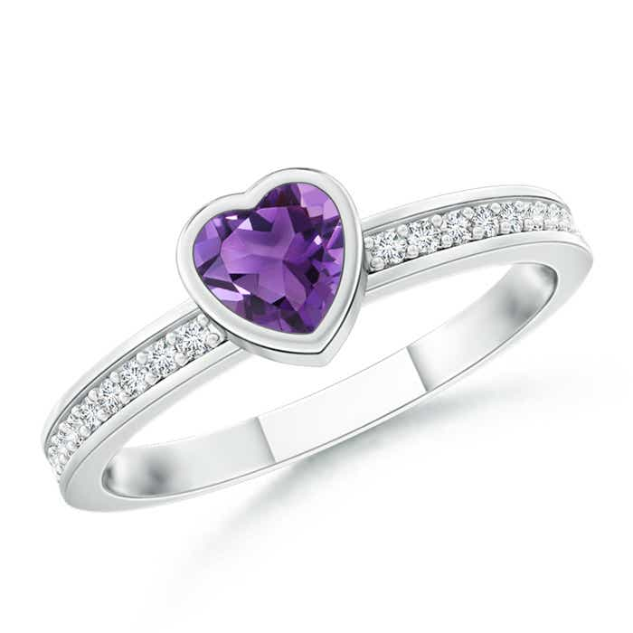 Angara Heart Amethyst and Diamond Promise Ring in 14k White Gold LltIS